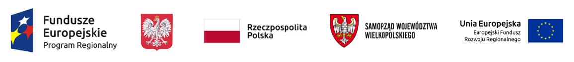 Logo Fundusze Europejskie, Rzeczpospolita Polska, Samorząd Województwa Wielkopolskiego, Unia Europejska Europejski Fundusz Rozwoju Regionalnego